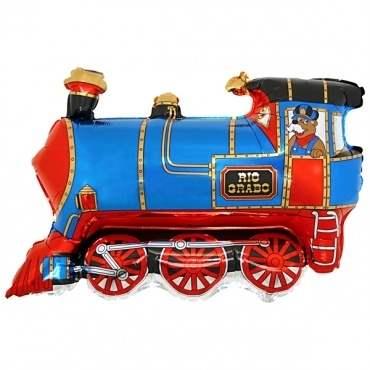 """Lokomotive blau klein 12inch Figuren-Folienballon, Form Miniloons flach 12"""" inkl. Tragestab Zubehör"""