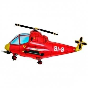 Hubschrauber rot,  Figuren-Folienballon, Form E  ArtKat  F311