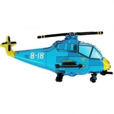 Hubschrauber blau,  Figuren-Folienballon, Form E  ArtKat  F311