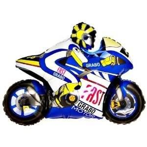 Motorrad blau Figuren-Folienballon, Form E  ArtKat  F311