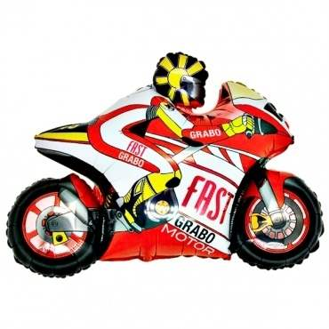 Motorrad rot,  Figuren-Folienballon, Form E  ArtKat  F311