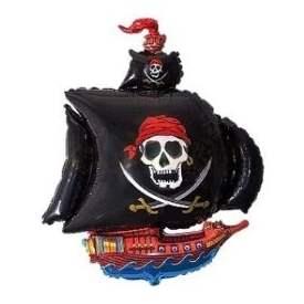 Piratenschiff schwarz,  Figuren-Folienballon, Form E  ArtKat  F311