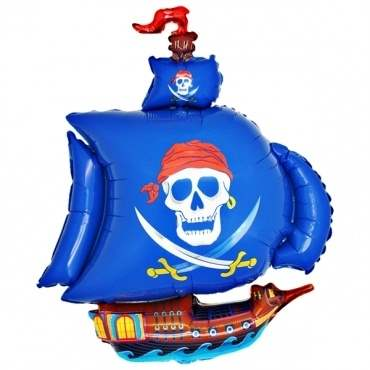 Piratenschiff blau,  Figuren-Folienballon, Form E  ArtKat  F311