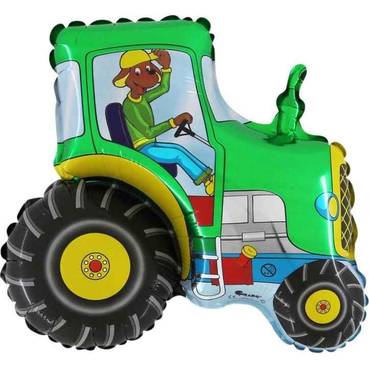 """Traktor grün klein 12inch Figuren-Folienballon, Form Miniloons flach 12"""" inkl. Tragestab Zubehör"""