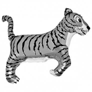 Tiger silber,  Figuren-Folienballon, Form E  ArtKat  F311