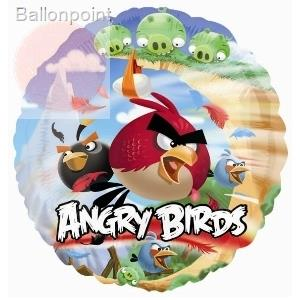 "Angry Birds 18"", M 18inch Rund Metallic Folienballon Ø45cm, in SB-Verpackung Art.Kat. F314"
