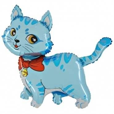 Katze blau Figuren-Folienballon, Form E  ArtKat  F311