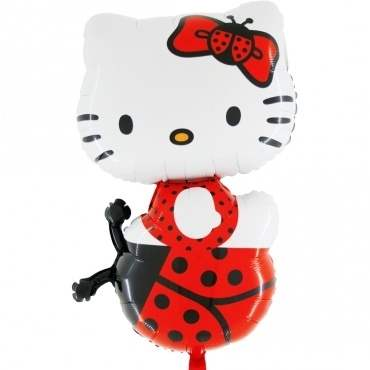 (#) Hello Kitty Marienkäfer II, Shape Form II Art.Kat. F322  Metallic Foilballoons