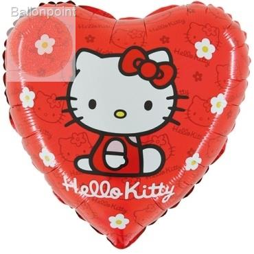 "(#) Hello Kitty Gänsebl.ro18"", M 18inch Rund Metallic Folienballon Ø45cm, in SB-Verpackung Art.Kat. F323"