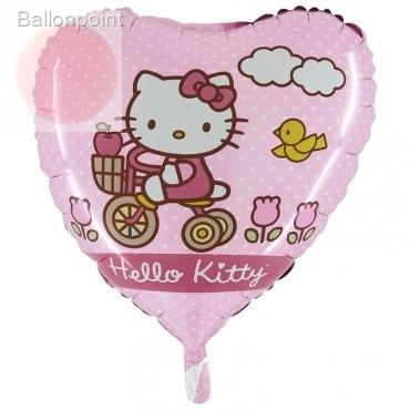 "(#) Hello Kitty Dreirad 18"", M 18inch Rund Metallic Folienballon Ø45cm, in SB-Verpackung Art.Kat. F323"