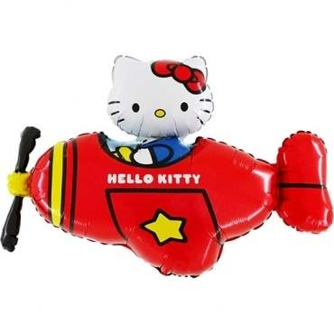 (#) Hello Kitty Flugzeug Rot II, Shape Form II Art.Kat. F322 Metallic Foilballoons