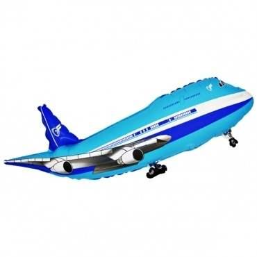 Flugzeug blau, Figuren-Folienballon, Form E  ArtKat  F311