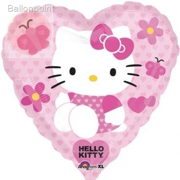 "Hello Kitty Heart 18"", M 18inch Rund Metallic Folienballon Ø45cm, in SB-Verpackung Art.Kat. F314"