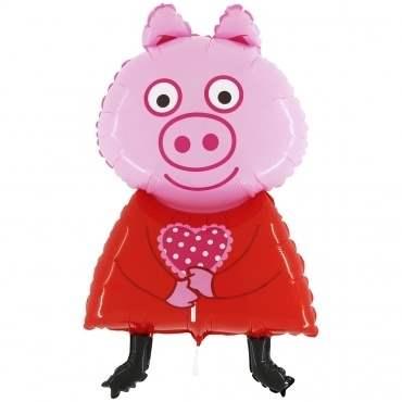 Schweinchen m. Kleid,  Figuren-Folienballon, Form E  ArtKat  F311