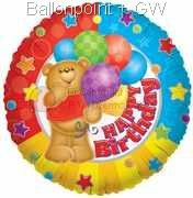 "FOBM045-665007E ""Happy Birthday"" Foilballoon Ø45cm with Bär und balloons"