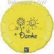 """FOBM045-16045303-2A Folienballon Rund in Gelb 45cm  (18"""") - Danke! - mit Sonne und Blume, unverpackt"""