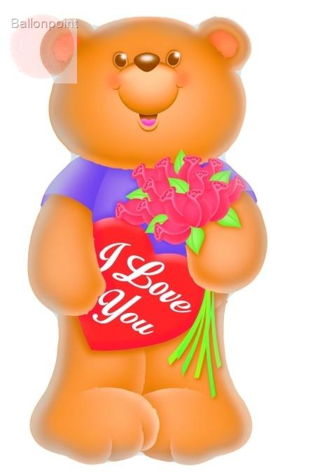 FOBF071-660976E Folienfigurballon Jumbo Shape Love Bear with roses, price per ea