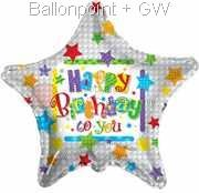 FOBM045-661270E Folienballon Ø~56cm (22 inch) Star Happy Birthday