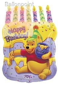 "FOBM058-61612E Happy Birthday Pooh Folienmotivballon 58cm(23"")"