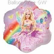 FOBM045-65278E Barbie Folienballon mit Happy Birthday Fairytopia, Ballon mit Faden
