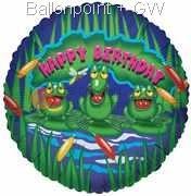 """FOBM045-66047E Foil balloon round 45cm  (18""""), Happy Birthday Frogs, price per ea"""