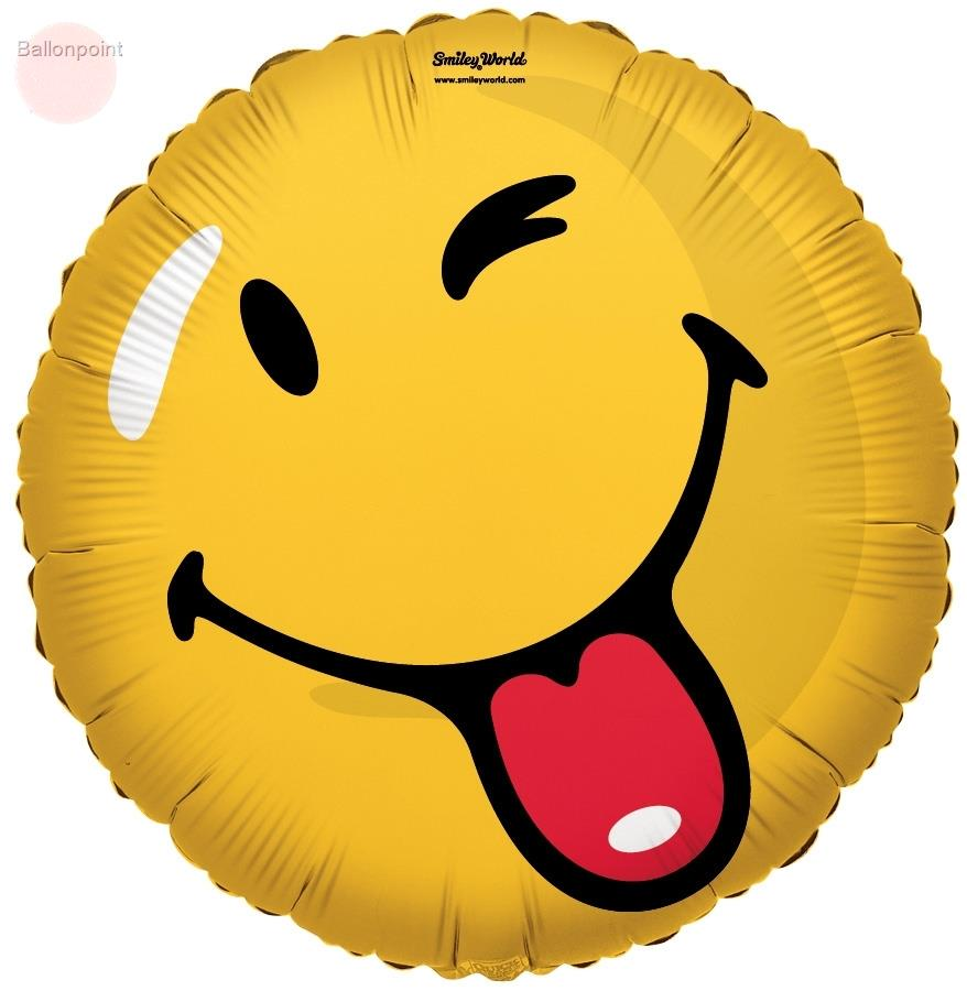 "FOBM045-661331E  Smiley Metallic Folienballon 45cm  (18""), Smiley Gesicht mit Zunge zeigen"