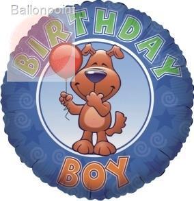 """FOBM045-665537E Foil balloon round 45cm  (18""""), Birthday Boy, price per ea"""