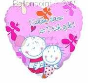 "FOHM045-665780E  Be Happy Folienballon Herzform 45cm  (18"")"