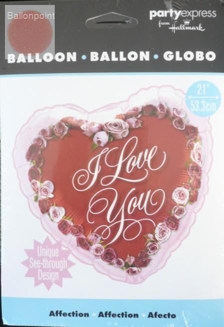 "FOBH053-69062B Liebes Herz Folienballon Herz 53cm  (21"") Text: I LOVE YOU Motiv: Rosen"