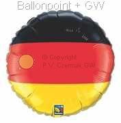 "FOBM045-948Q  Nationalfarbenballon Deutschland - Folienballon Ballongröße Ø45cm (18"")"