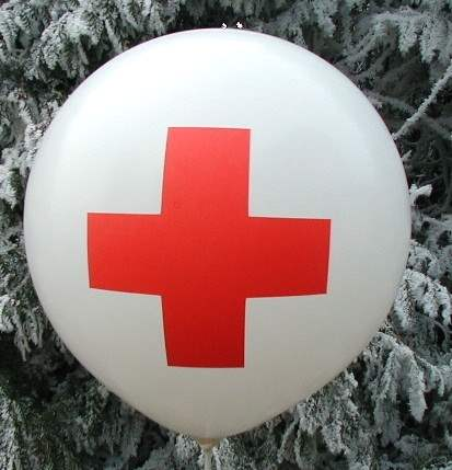 MR650-21H-PI03 - first aid - red cross on Gigantballoon Ø~210cm 2site printed, price per pcs