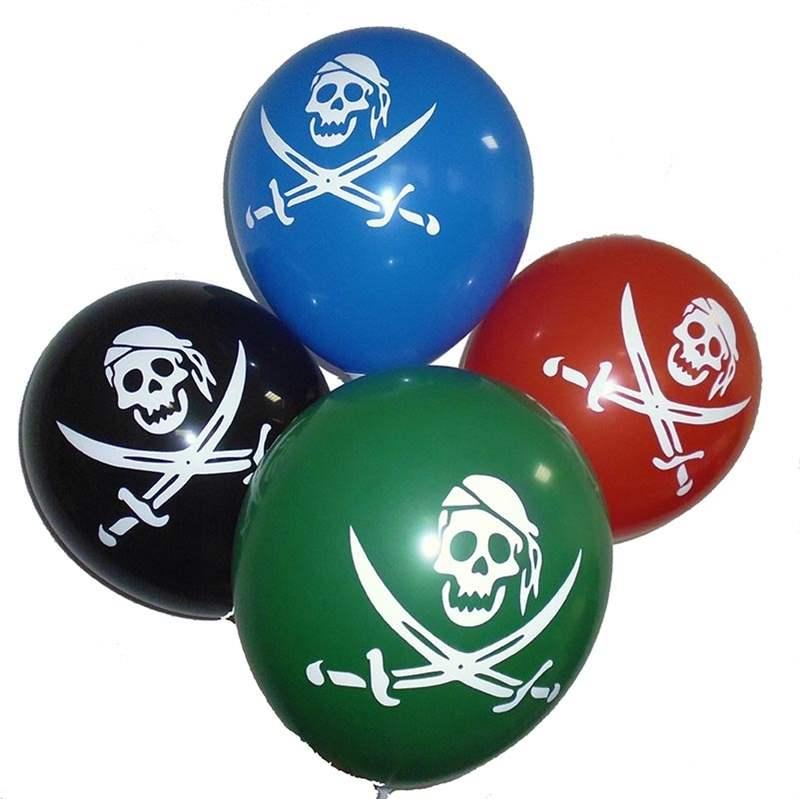 MR100-21H-Pirat1 Ø33cm Motiv1 Piratenkopf,  Ballonfarbe gemischte Farben  2seitig bedruckt, Druckfarbe weiss