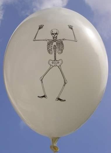 Halloweenballon Ø80cm in Weiß mit Skelett