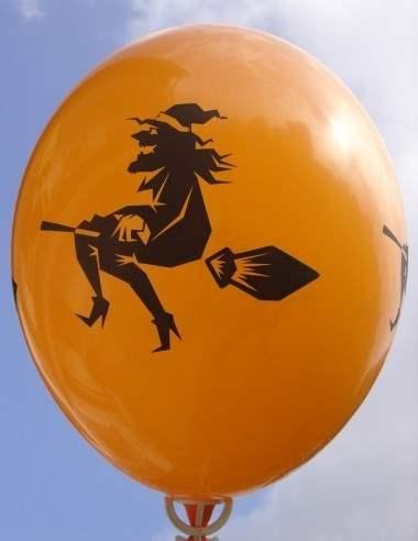 Halloweenballon Ø80cm in Orange mit Hexe
