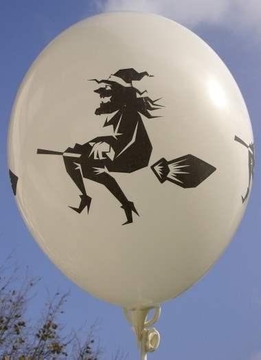 Halloweenballon Ø80cm in Weiß mit Hexe