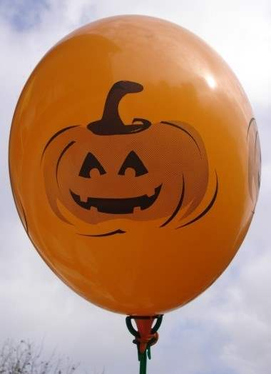 MR225-108-41H-HW01 Halloweenballon Ø80cm in Orange mit Kürbisgesicht