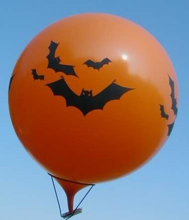 Halloweenballon Ø80cm in Orange mit Fledermaus