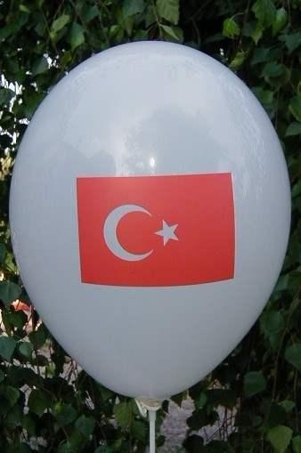 MR100-2312-11H-T  Türkei Flaggenballon Pastel WEISS, Ballone R100 Ø33cm Druck in rot 1seitig bedruckt.