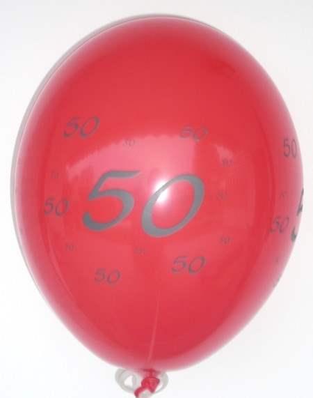 MR100-2101-41H-GE050  Geburtstagsballon Ø~35cm, 4seitig mit 50 bedruckt