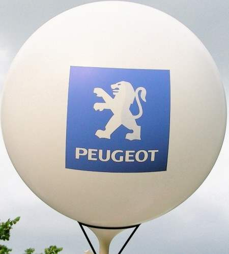 MR225-PEUGEOT Ø~80cm emblem printed on two site or 3site printed, Balloons white