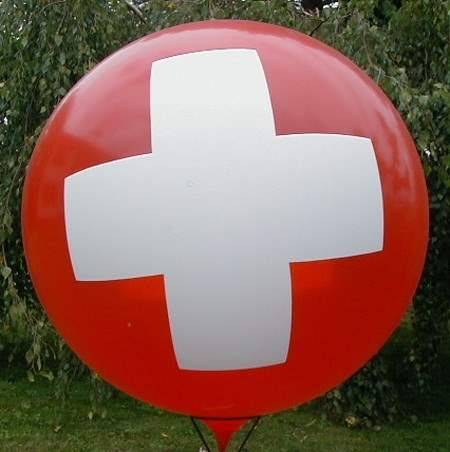 MR265-31H-PI03 - first aid - red cross on Gigantballoon Ø~100cm 3site printed, price per pcs