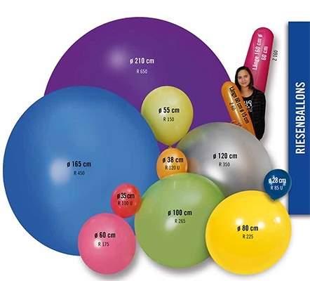 Riesenluftballons extra stark von Ø 40cm - 210cm in 8 Größen, Ballonfarbe nach AUSWAHL, Ballone unbedruckt und ohne Zubehör.