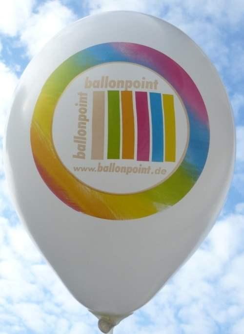 """R100-16PD/H-G   Ø~33cm Ballonfarbe nach Auswahl """" passgenau """" individuell bedruckt mit 1seitigem 6farbiger Aufdruck in Siebdrucktechnik, Ballonstutzen unten"""