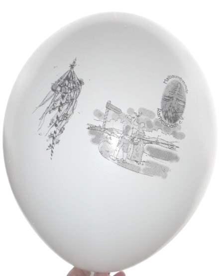 R120-12-W  Ballon mit Ø~41cm,  Individuell 3C bedruckte Ballon, max Druckfläche Ø16cm, Ballonfarbe nach Auswahl