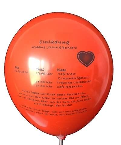 Ø 35cm ROT, 1seitig 1farbig bedruckter Werbeluftballon WR100B-11,  Ballonstutzen unten