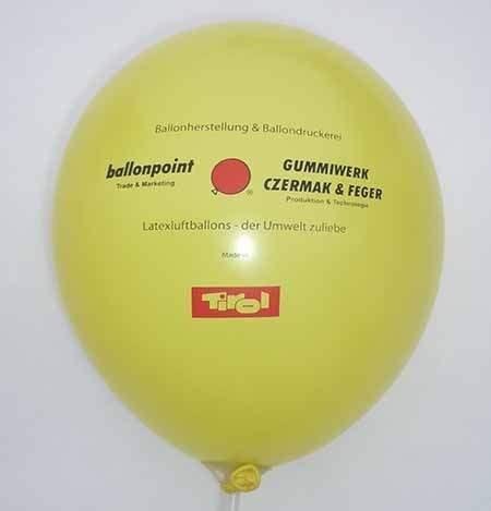 Ø 28/35/39cm extra stark, Ballonfarbe nach Angabe, 1-2seitig 2farbig bedruckt Werbeluftballon, Druck in Siebdrucktechnik