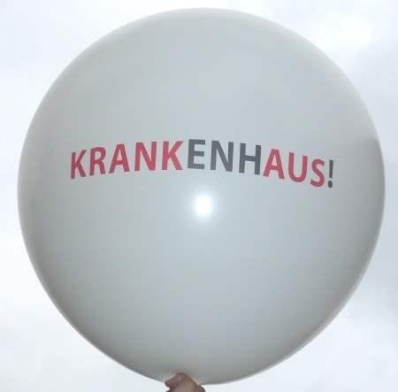 R225-32-W 3seitig/2C zweifarbig individuell bedruckter Riesenballon Ø~80cm, Ballonfarbe nach Wahl