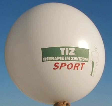 """R265-13-W   Ø~100cm Riesenluftballon individuell bedruckt, Ballonfarbe nach Wahl mit 1seitigem 3C Aufdruck in Siebdrucktechnik """" nicht passgenau"""" , Ballonstutzen unten."""