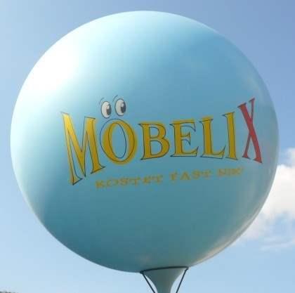 """WR265-24-W  Ø~100cm Riesenluftballon individuell gleich bedruckt, Ballonfarbe nach Wahl mit 2seitigem gleichen 4C Aufdruck in Siebdrucktechnik """" nicht passgenau"""" , Ballonstutzen unten."""