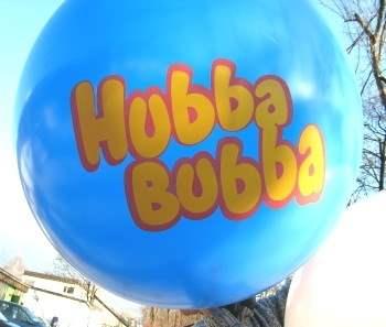 """R350-23-W Ø~120cm Riesenwerbeluftballon, Ballonfarbe nach Angabe mit 2seitigem gleichen individuellen 3C Aufdruck, Druck """" nicht passgenau"""" , Ballonstutzen unten"""